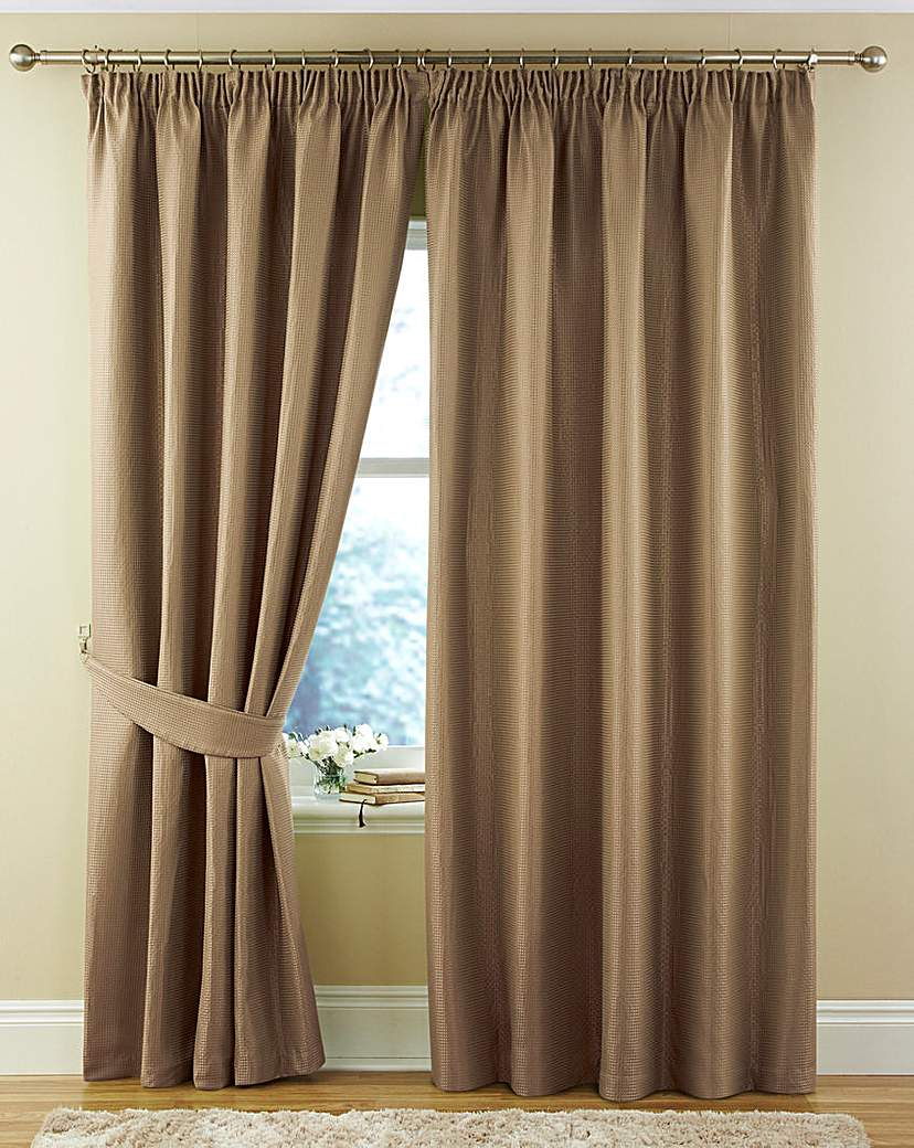 Image of Alice Waffle Plain Dye Lined Curtains