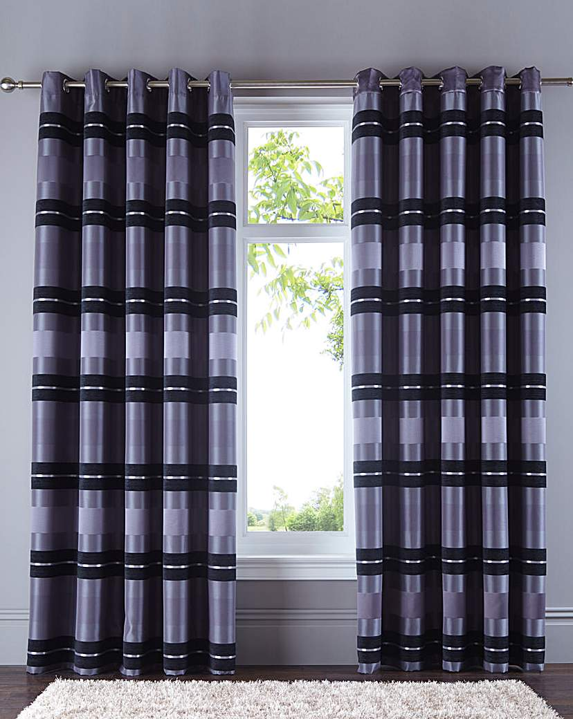 Image of Alessia Chenille Eyelet Lined Curtains