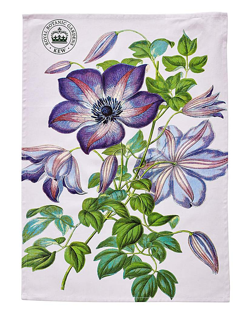 Image of Kew Gardens Clematis Tea Towel