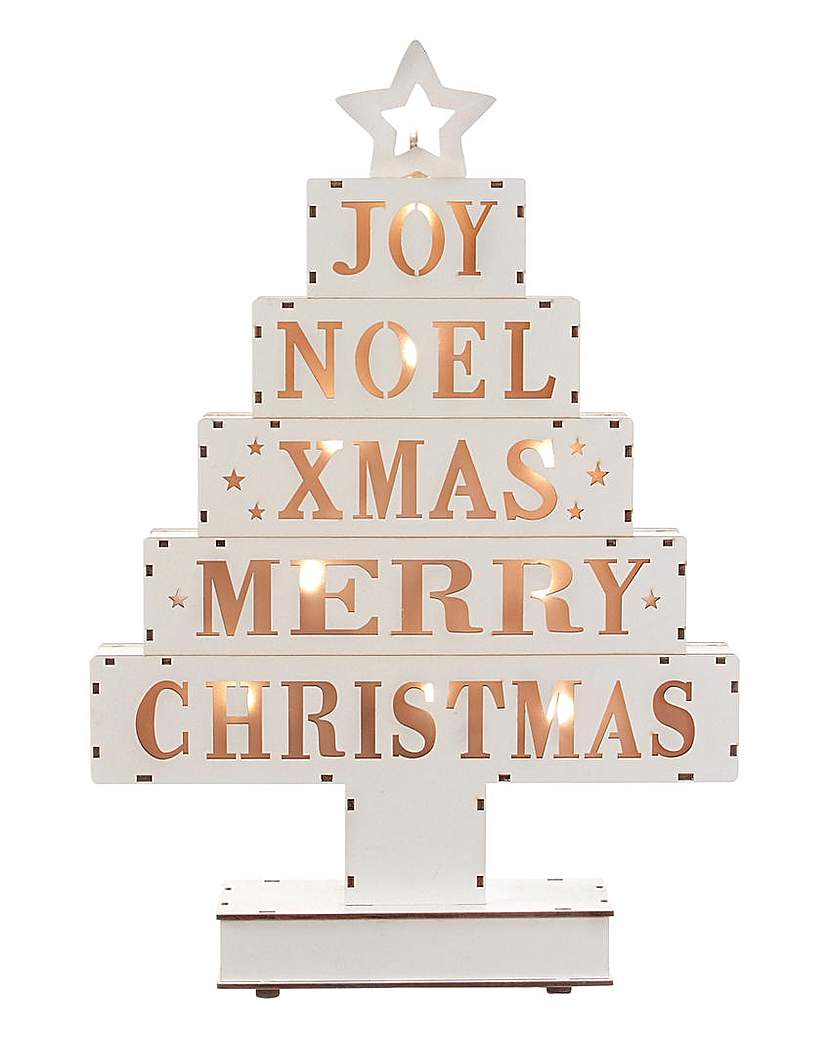 LED Wooden Xmas Greetings Tree
