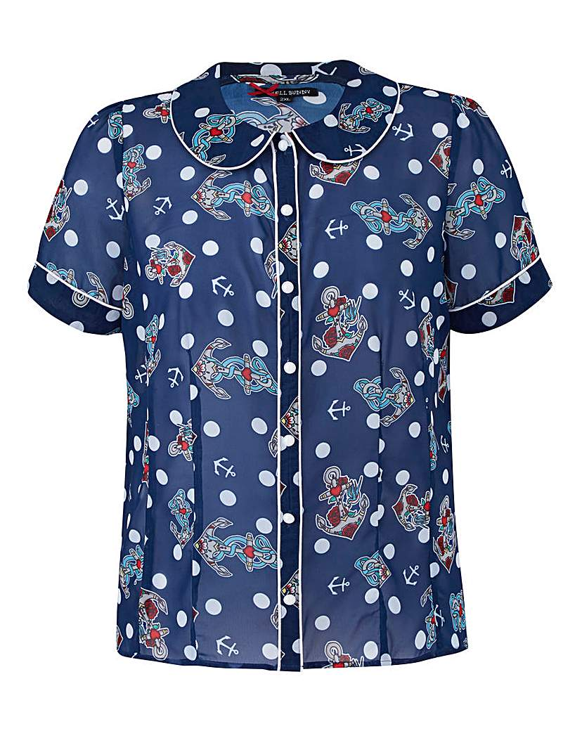 1950s Rockabilly & Pinup Tops, Shirts, Blouses Hell Bunny Oceana 50s Blouse £26.00 AT vintagedancer.com