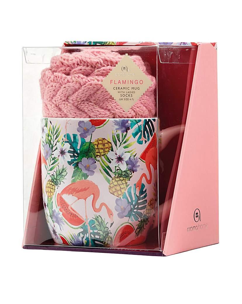 Image of Flamingo Mug and Socks Gift Set