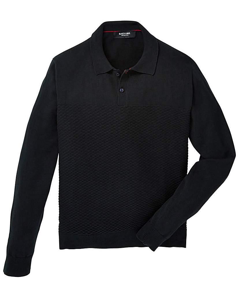 Black Label Textured Stitch Knit Polo