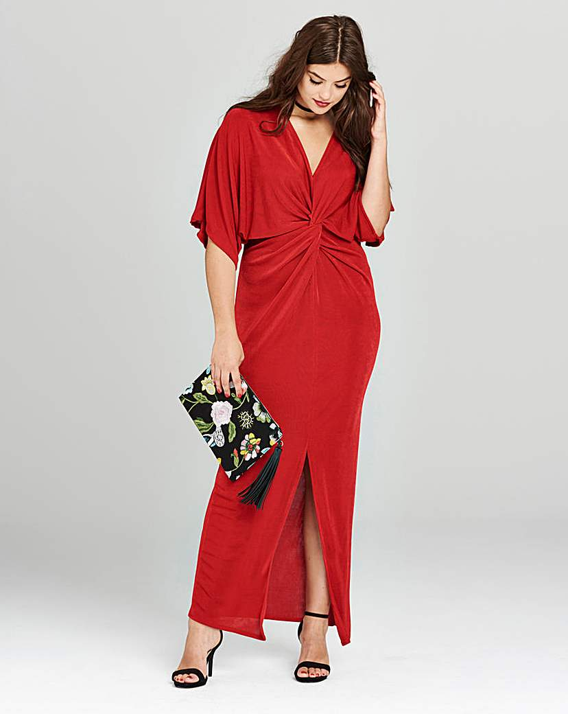 Simply Be Red Kimono Knot Front Dress.
