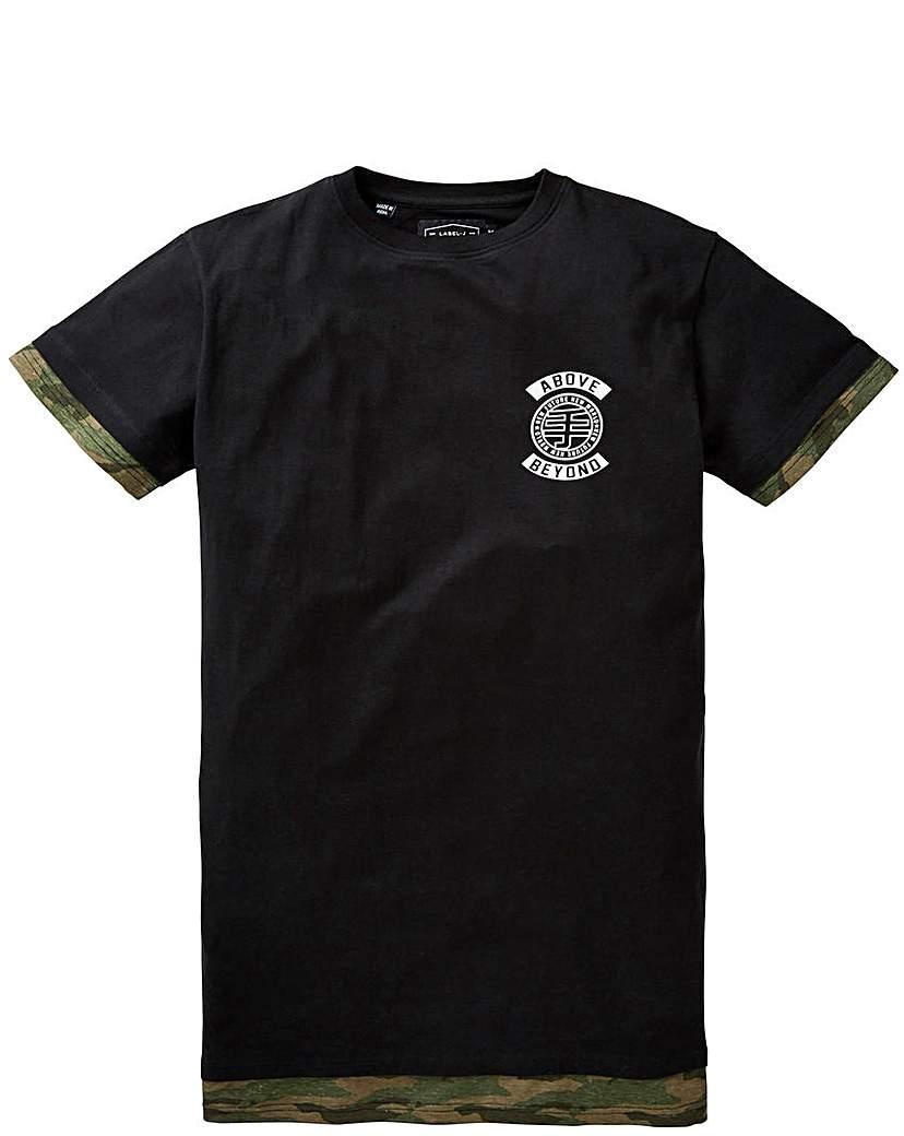 Label J Longline Slogan Print T-Shirt R