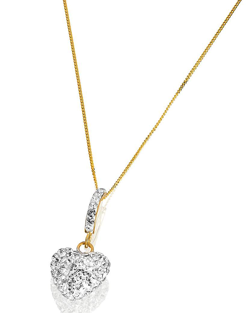 Image of Crystal Glitz 9 Carat Gold Heart Pendant