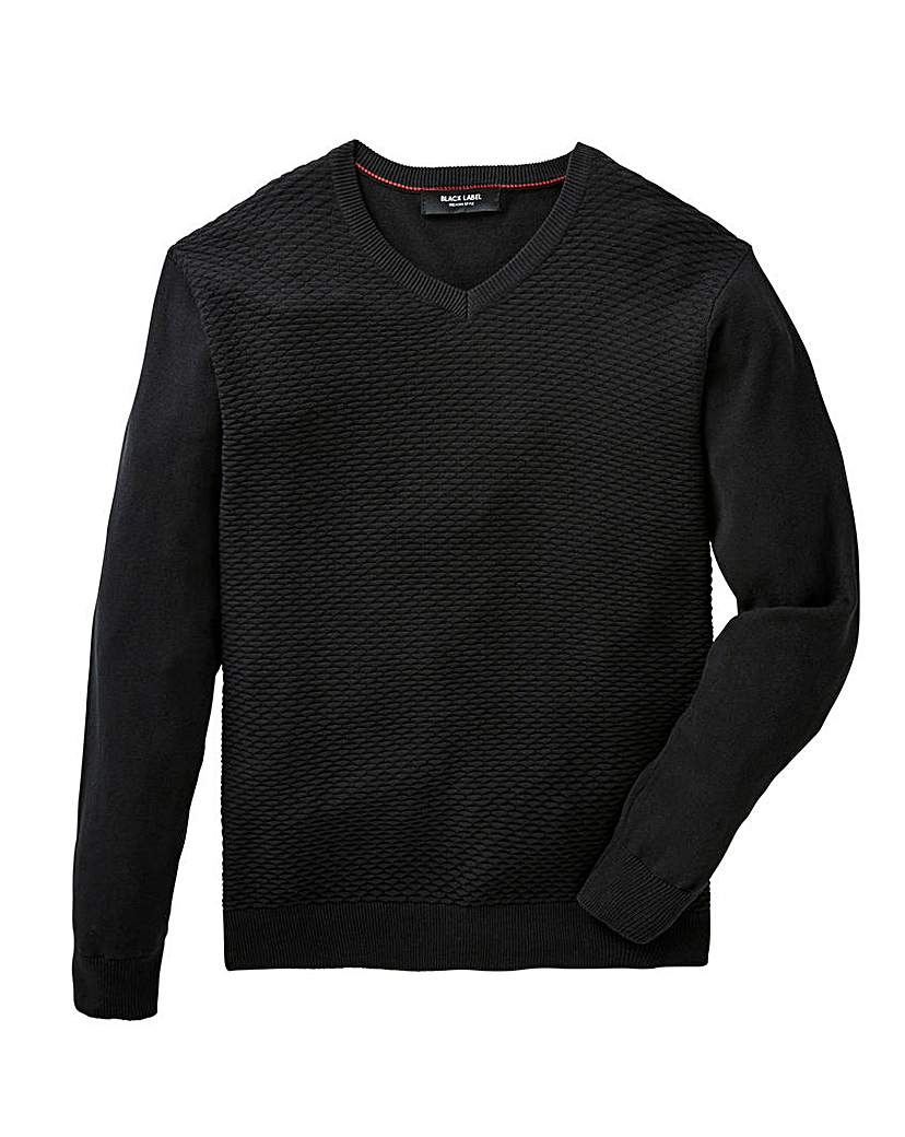 Black Label V Neck Textured Fine Knit.