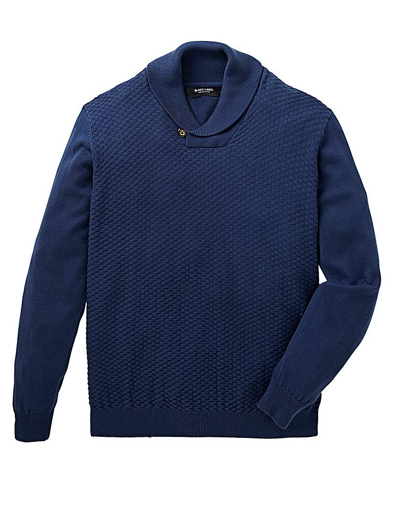 Black Label Shawl Neck Fine Knit Regular