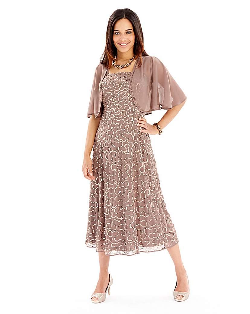 1920s Formal Dresses Guide Joanna Hope Sequin Dress and Bolero £53.00 AT vintagedancer.com
