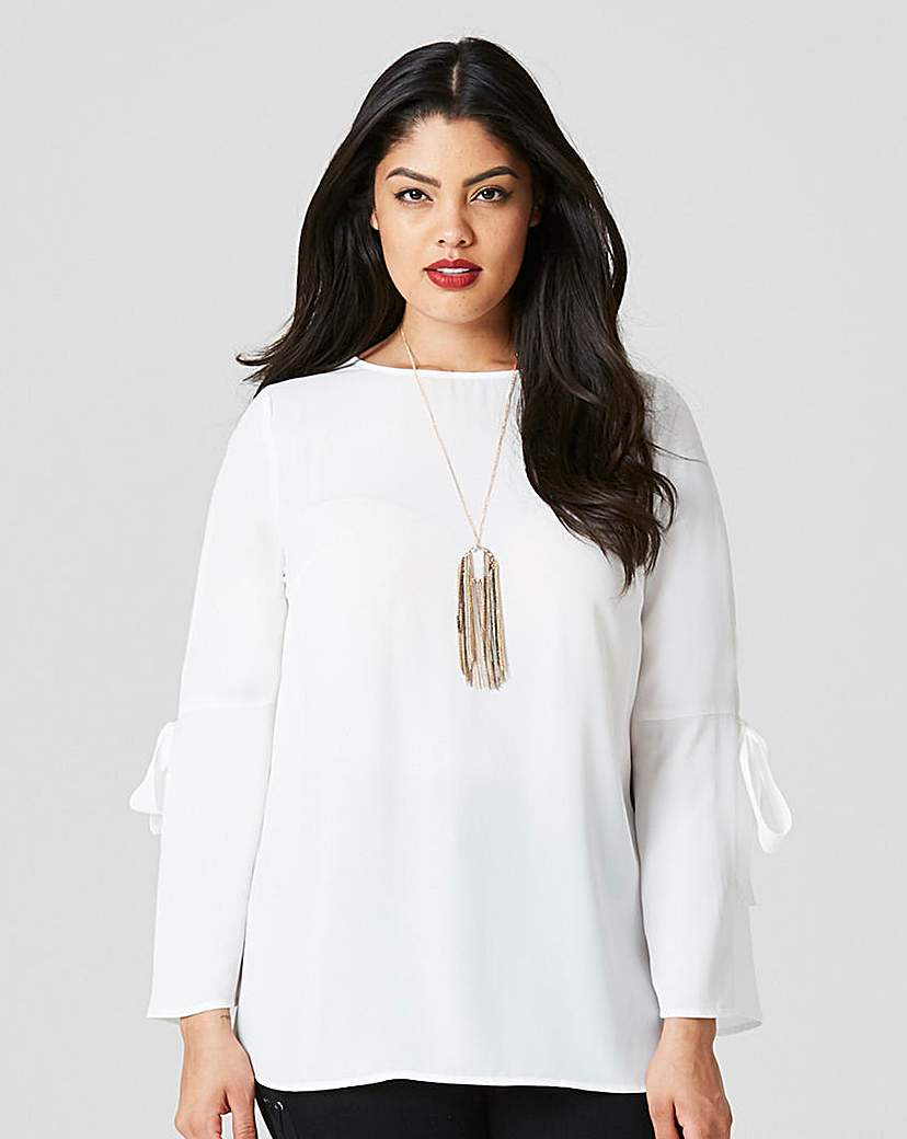 Ivory Tie Sleeve Blouse.