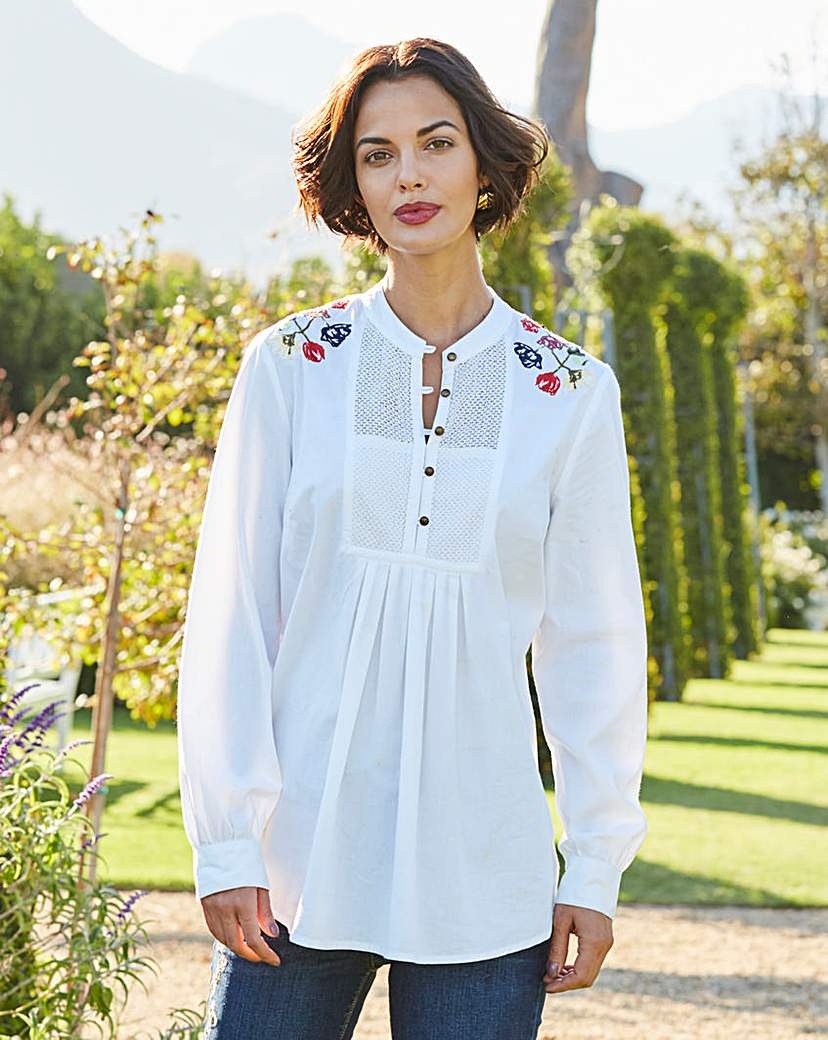 Image of White Embroidered Cotton Blouse