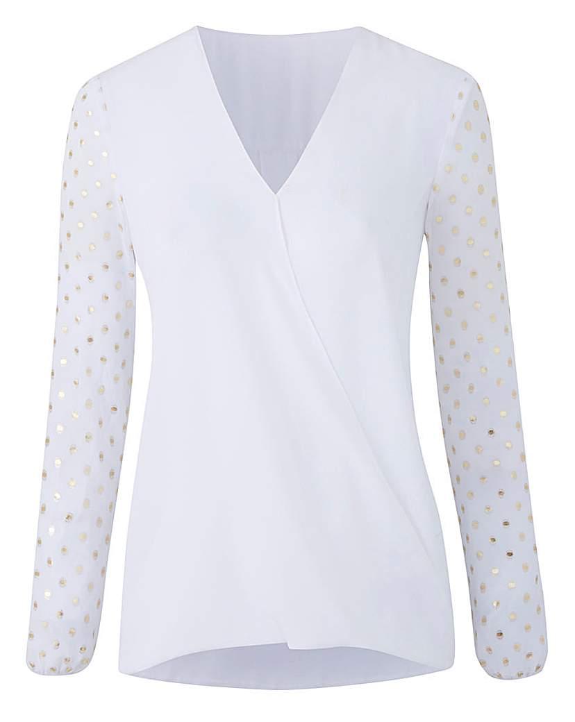 White Foil Print Wrap Shirt
