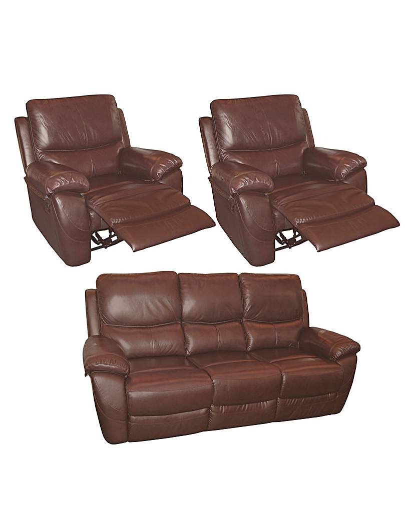 Image of Bentley Leather 3 Seater Plus 2 Chairs