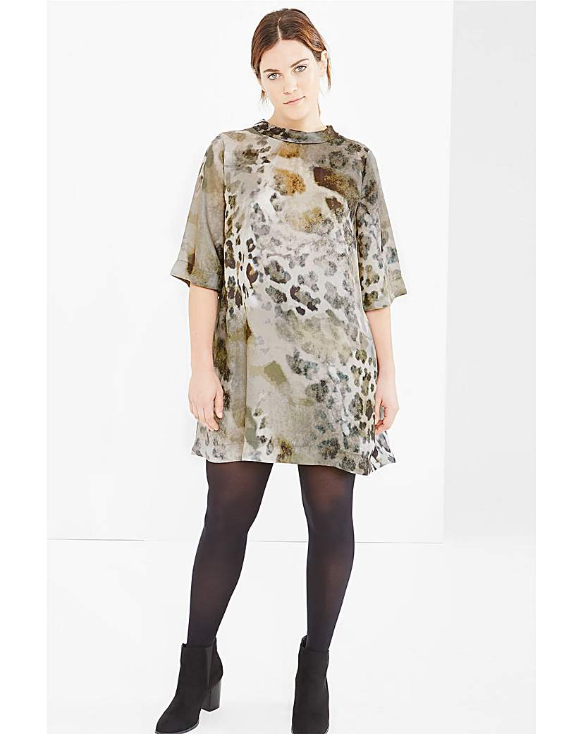 Elvi Animal Print High Neck Dress