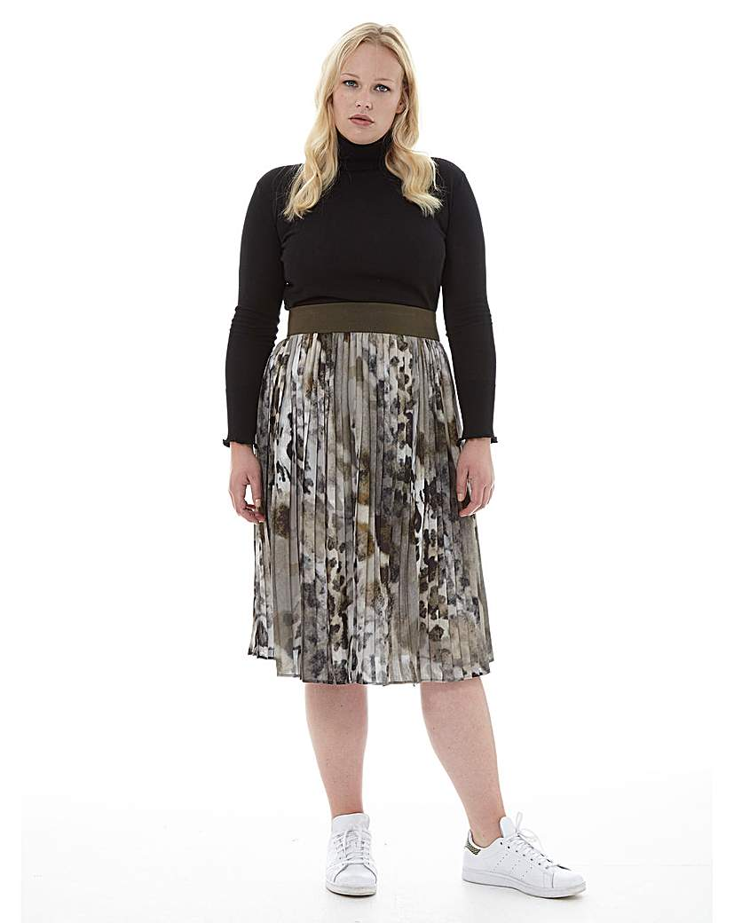 Elvi Animal Printed Pleated Skirt