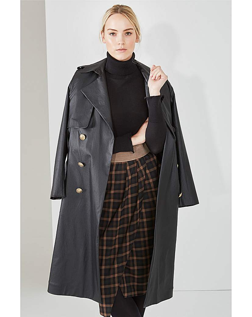 Elvi Black Mac With Tartan Lining