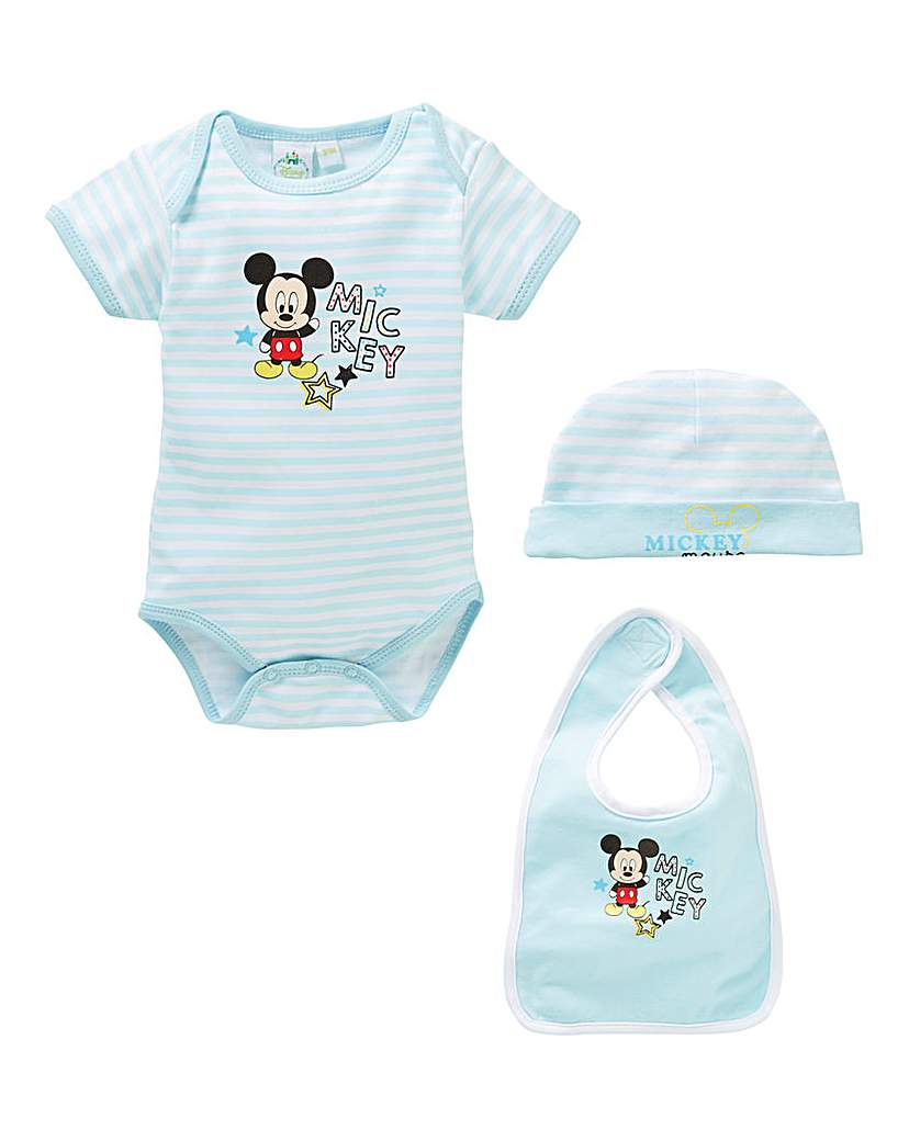 Image of Mickey Mouse Baby Bodysuit Bib and Hat S