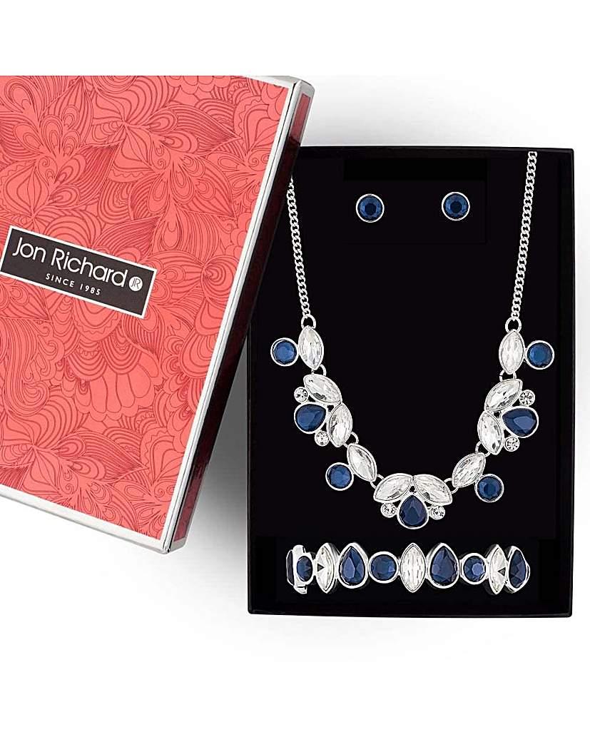 Jon Richard blue navette jewellery set