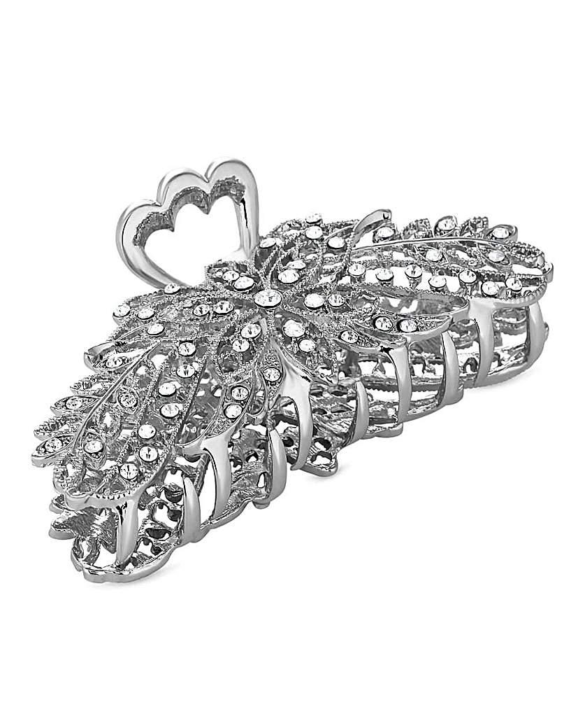 Mood silver crystal hair clamp clip