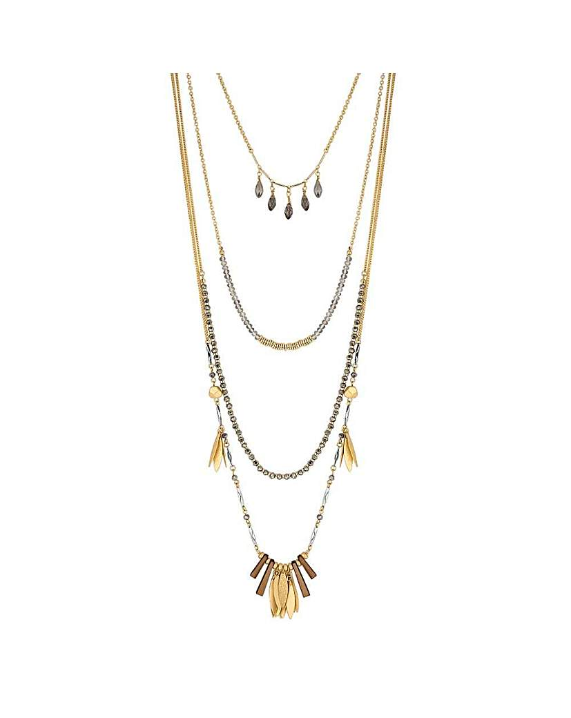 Image of Mood gold charm multi row necklace