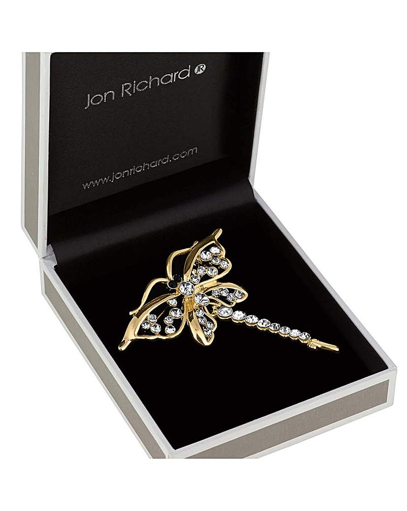 Image of Jon Richard gold dragonfly brooch