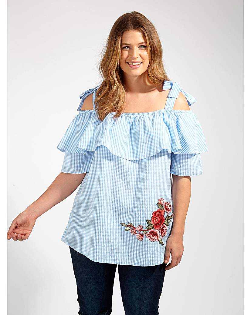 Image of Lovedrobe GB Blue Gingham Blouse