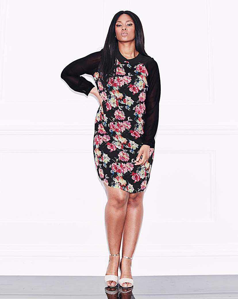 Lovedrobe Floral Print Front Shirt Dress