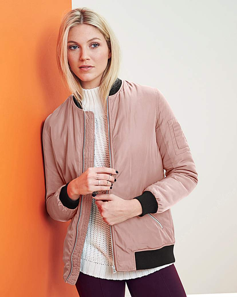 Pink Champagne Padded Bomber Jacket