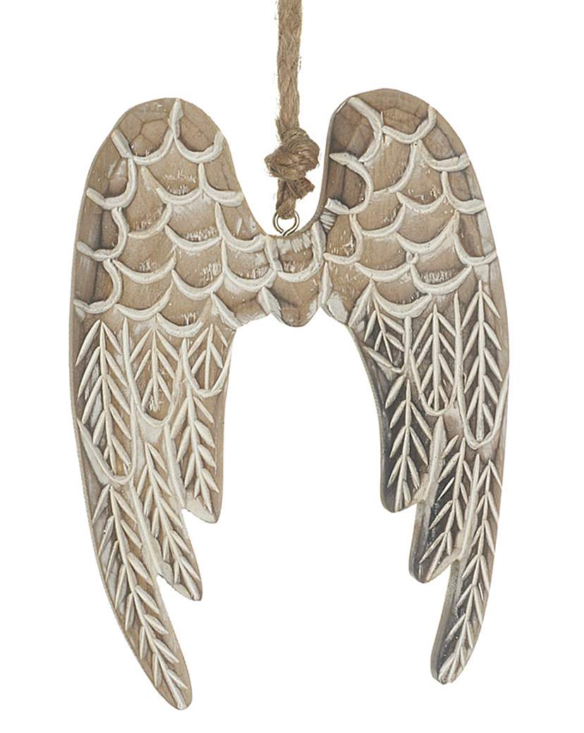 Image of Wooden Hanging Angel Wings