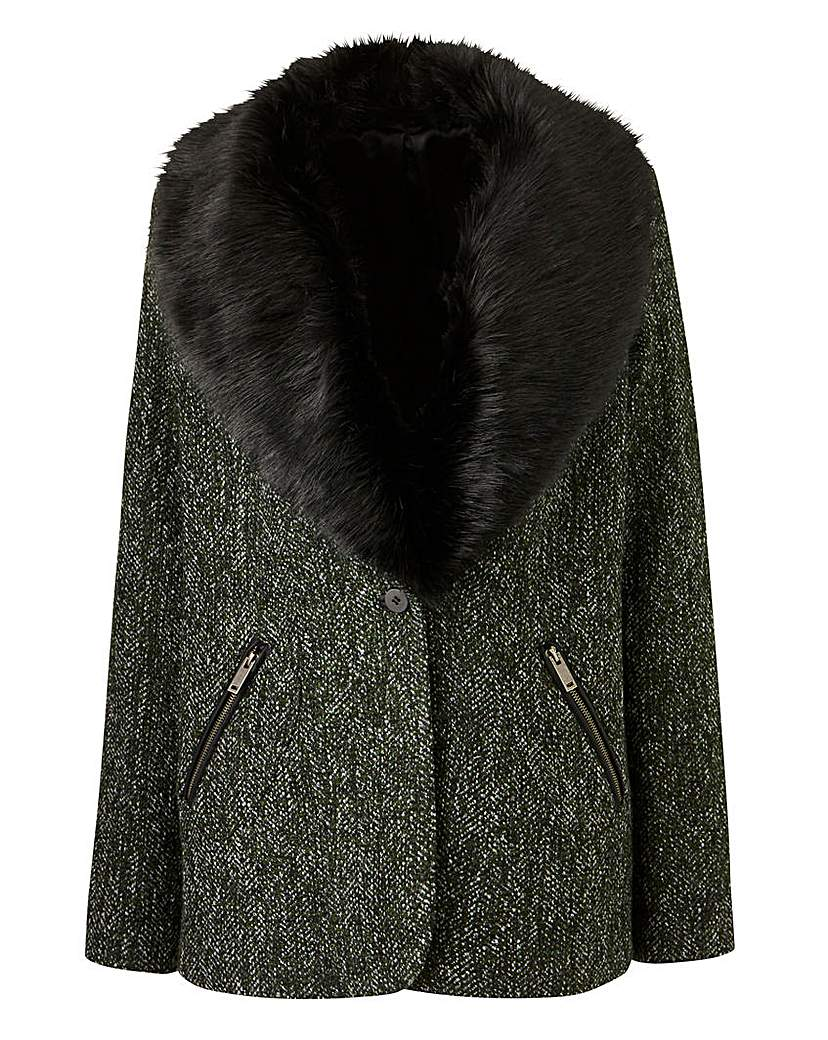 Tweed Coat With Faux Fur Collar