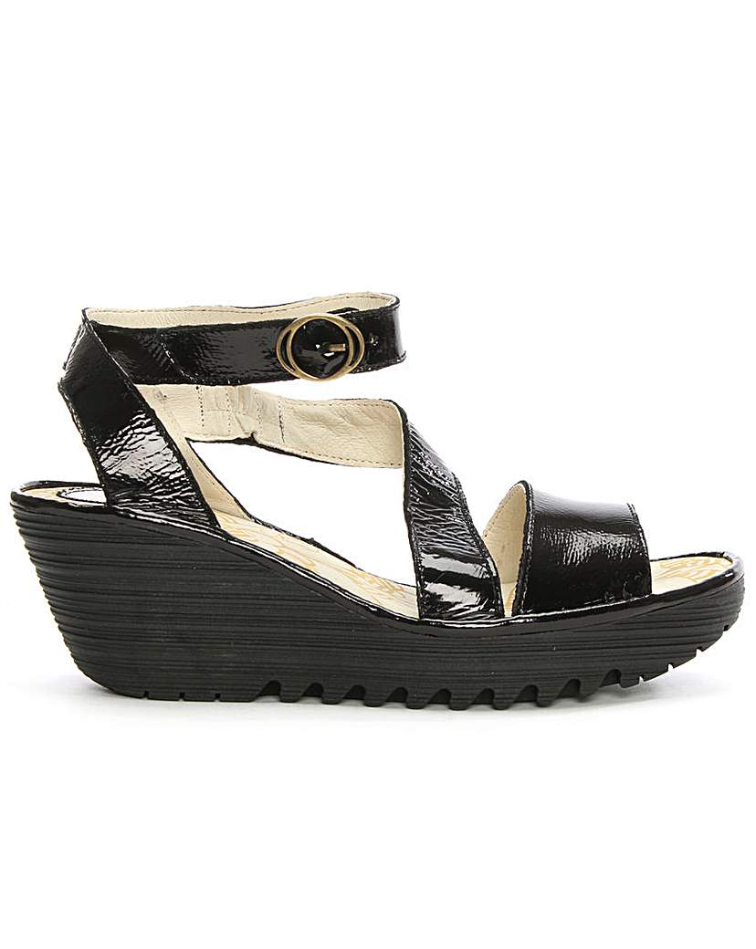 Fly London Patent Leather Wedge Sandal