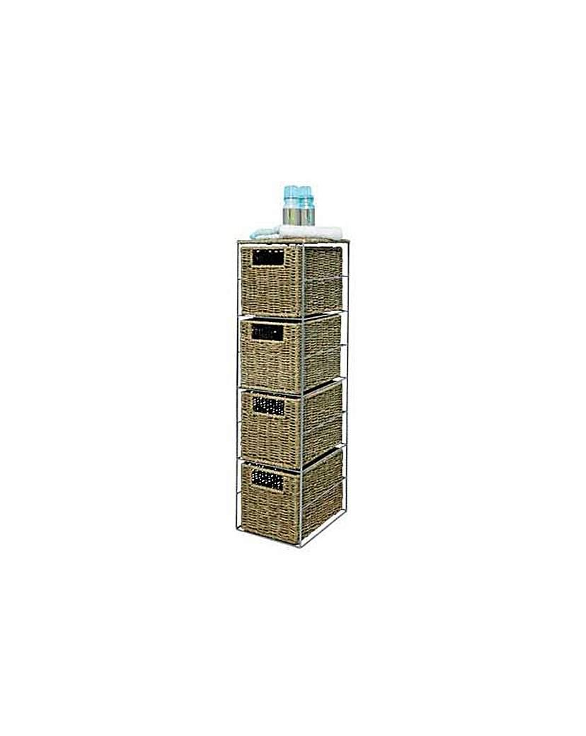 Slimline 4 Drawer Seagrass Storage Tower