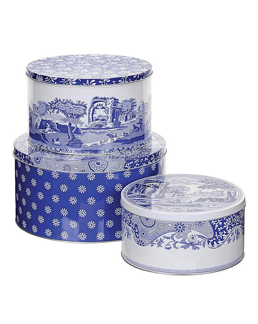 Image of Blue Italian Set Of Three Cake Tins