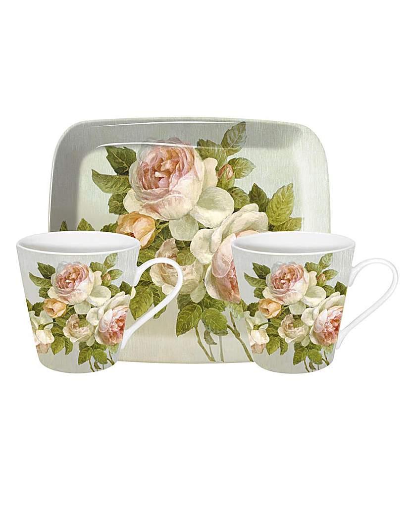 Image of Pimpernel Antique Rose Mug & Tray Set