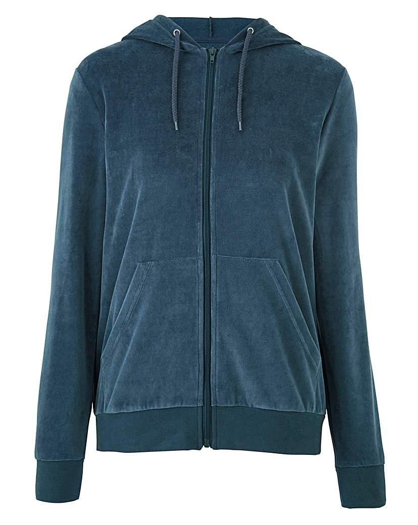Velour Hooded Zip Jacket