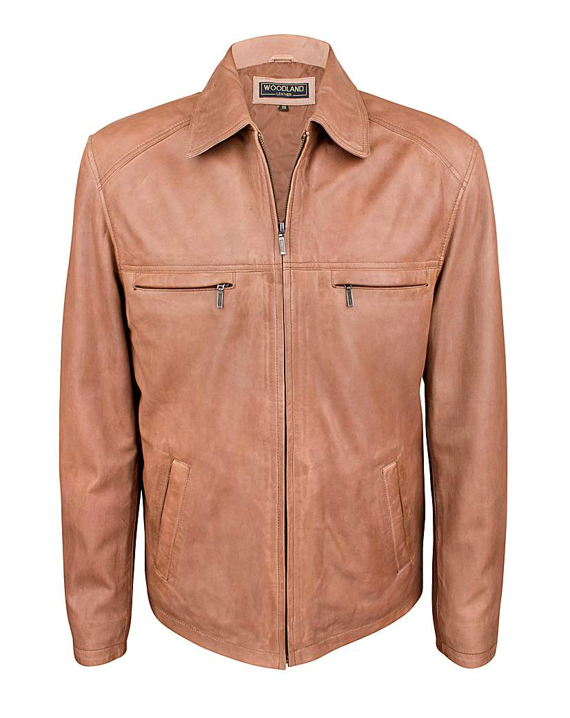 Men's Outerwear Woodland Leather Harrington Jacket