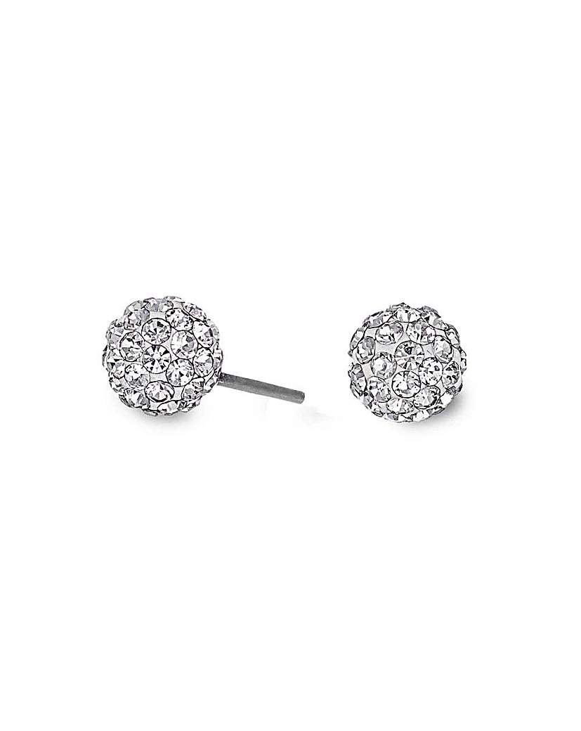 Image of Simply Silver small pave ball earring