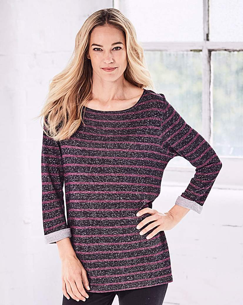 Image of Label Be Striped Longline Pullover