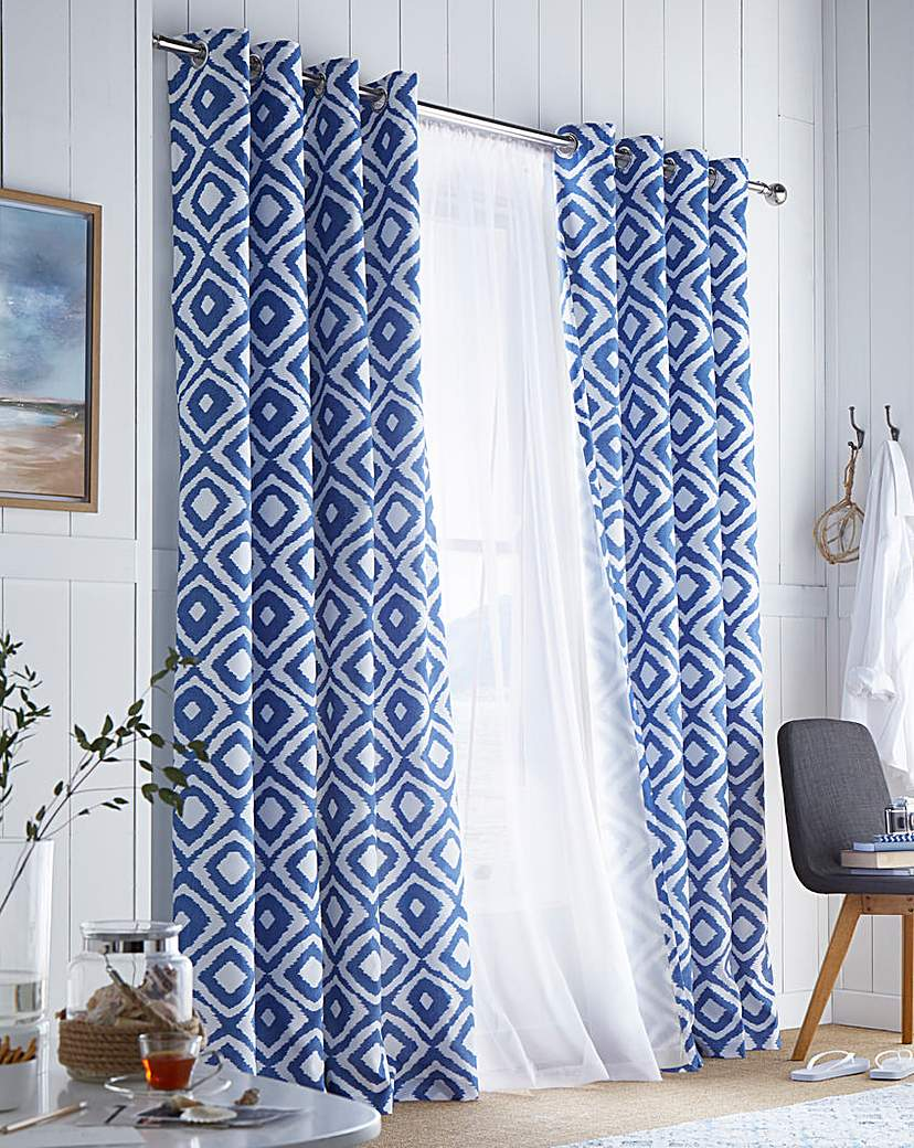 Nevada Printed Lined Eyelet Curtains