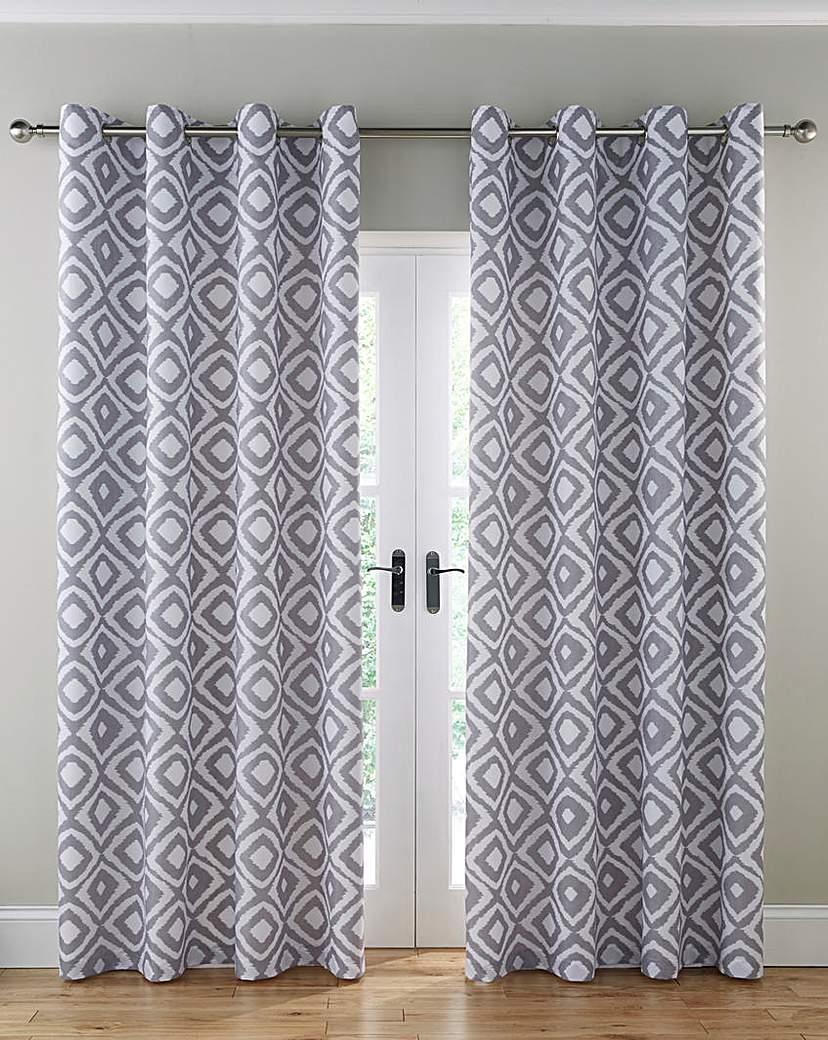 Nevada Printed Lined Eyelet Curtains