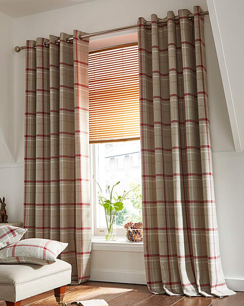 Hudson Check Lined Eyelet Curtains.