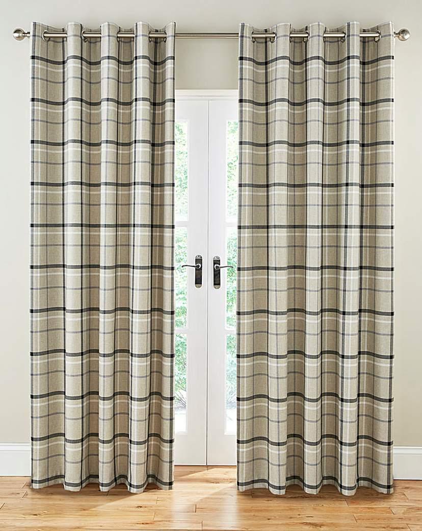 Hudson Check Lined Eyelet Curtains.