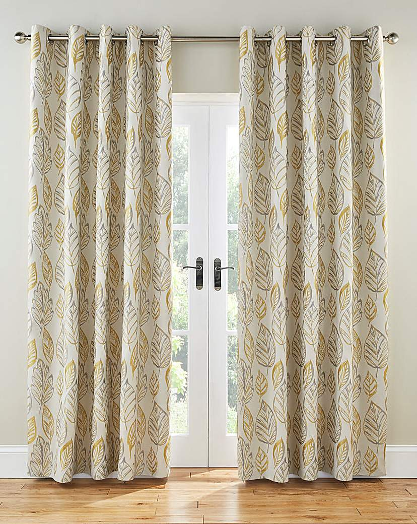 Peyton Leaf Lined Eyelet Curtains.