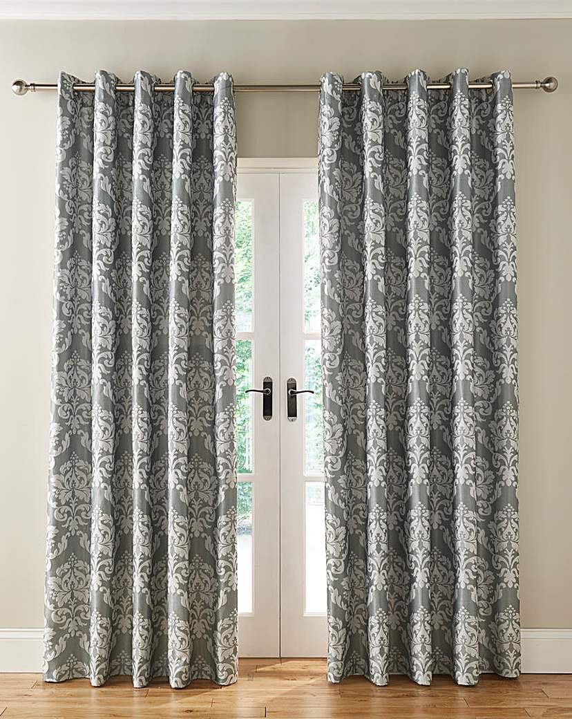 Hallam Damask Lined Eyelet Curtains