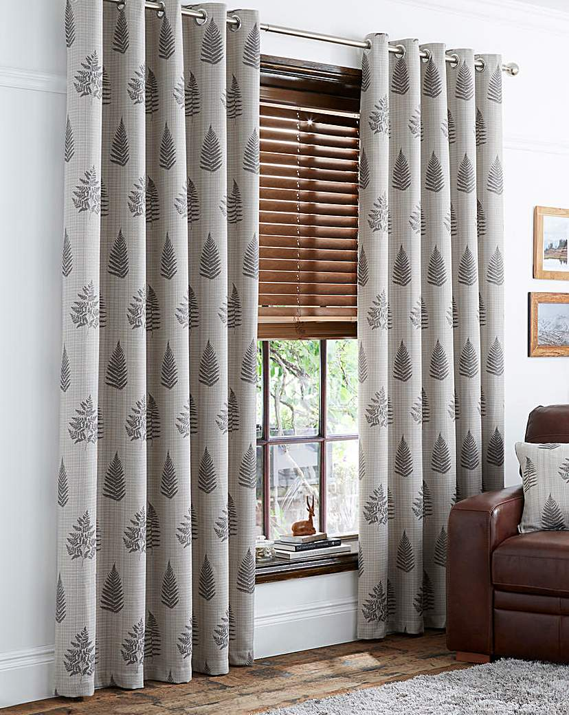 Image of Ancona Fern Luxury Lined Eyelet Curtains