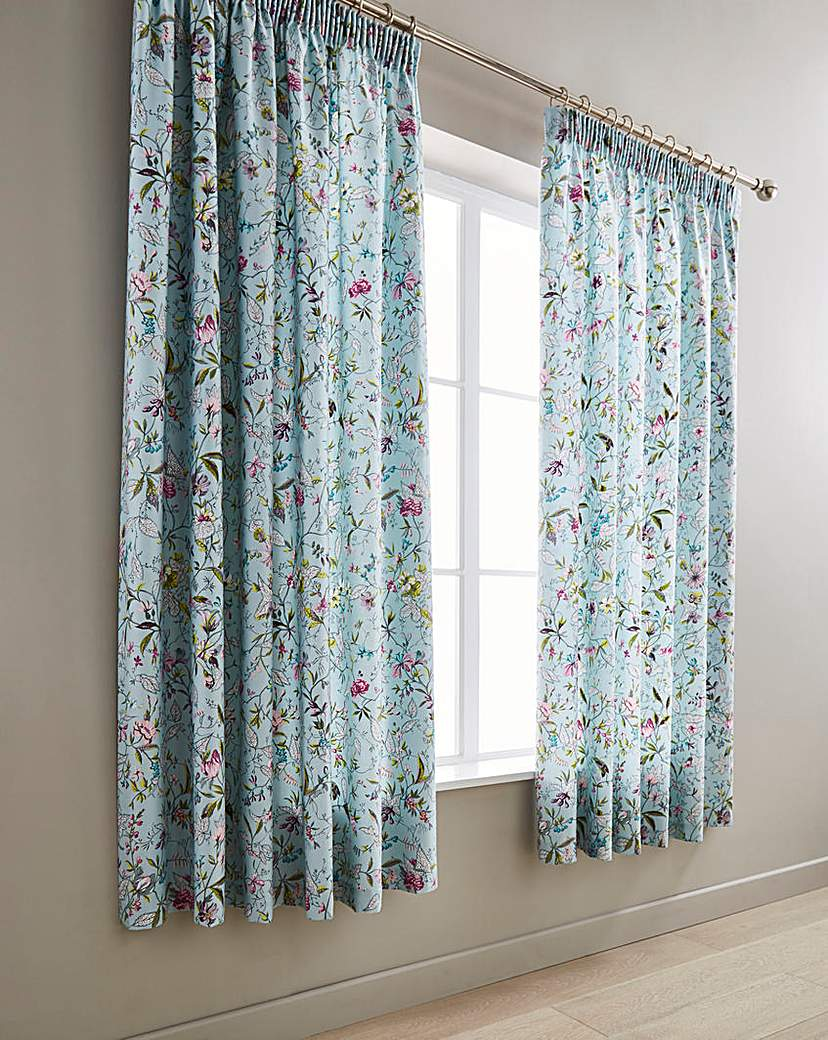 V&A Botanica Aqua Pleated Curtains
