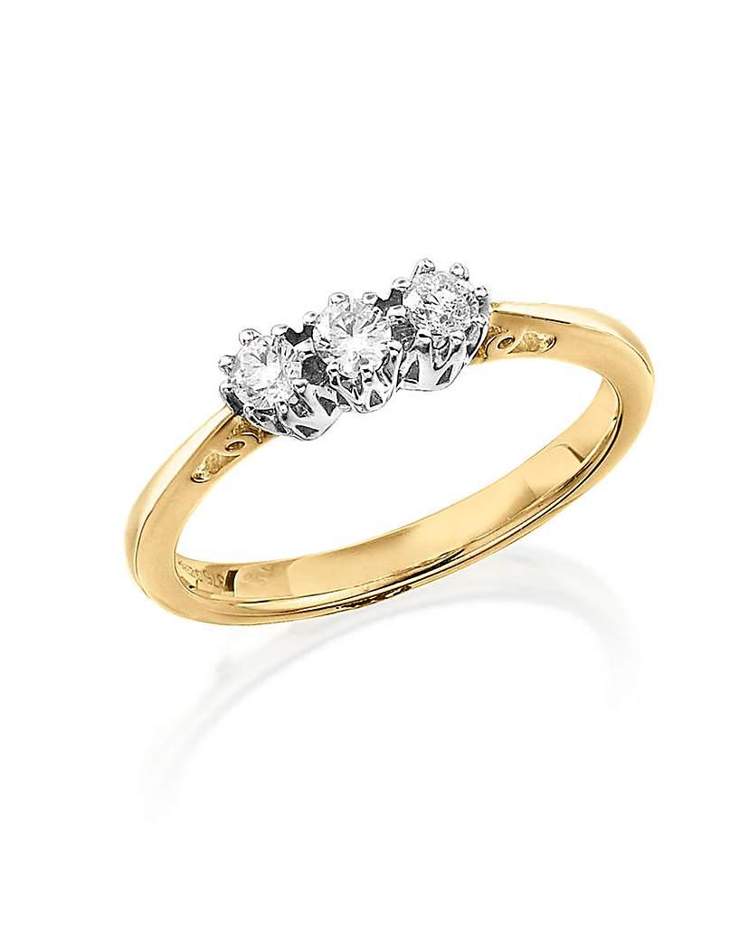 Image of 9 Carat Gold 1/4ct Diamond Trilogy Ring