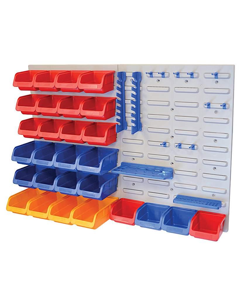 Image of 43pc Storage Bin Set C/w Wall Panels