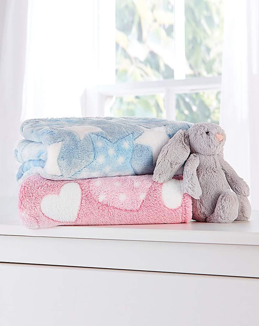 Clair De Lune Heart Fleece Plush Blanket