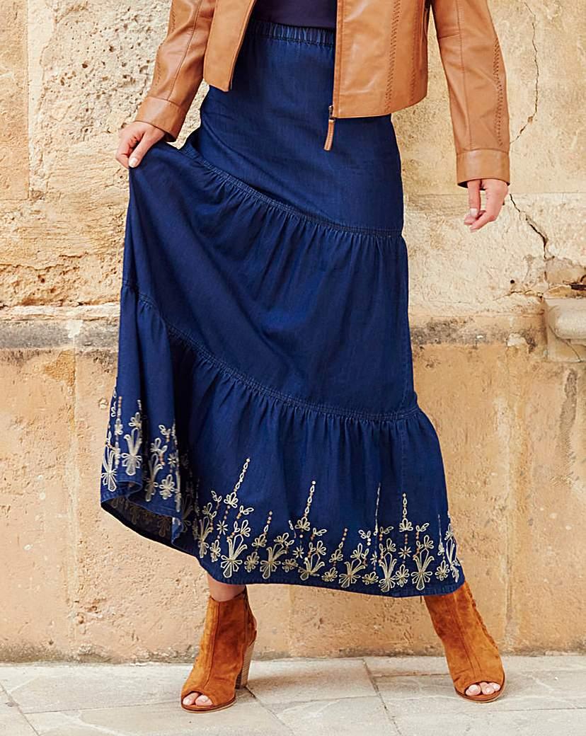 Joanna Hope Embroidered Maxi Skirt